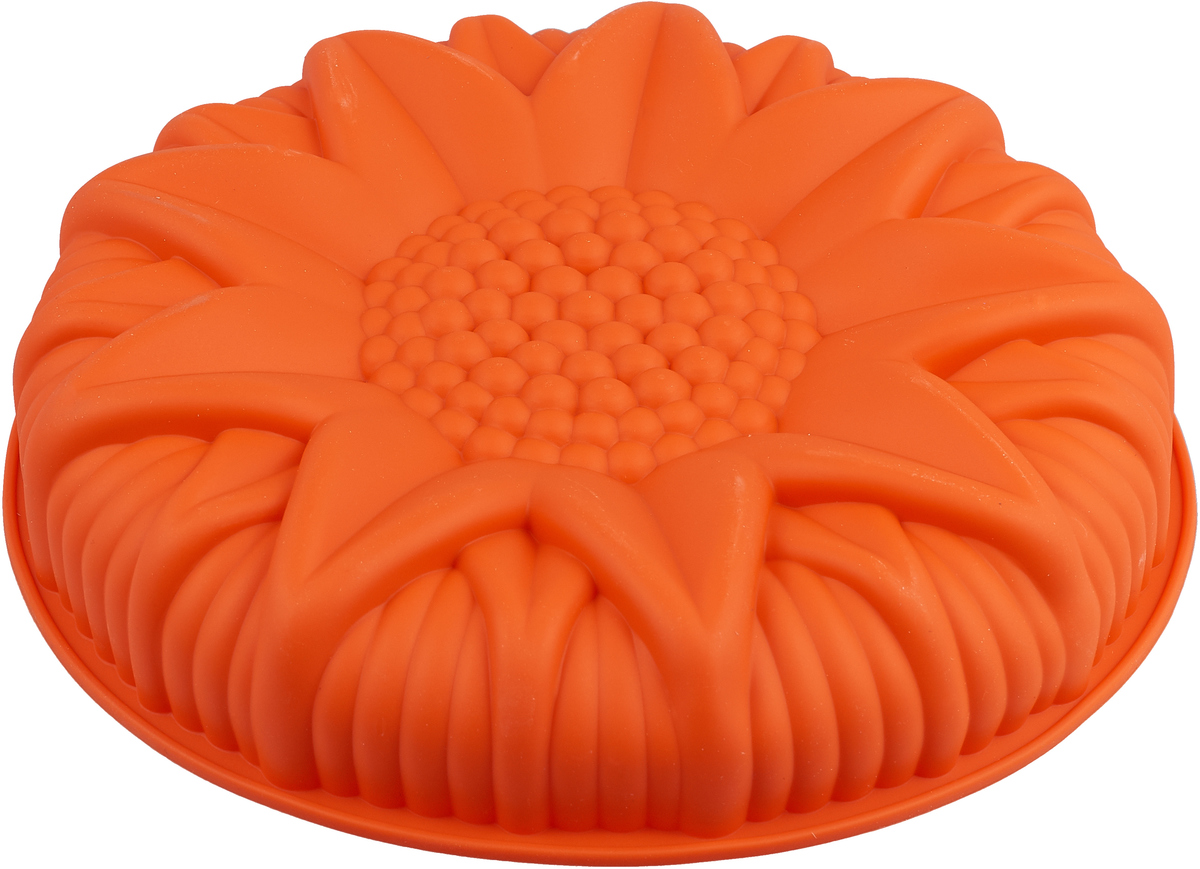 Форма в виде подсолнуха выполнена из жаропрочного силикона. Идеально подходит для выпечки пирогов. Можно мыть в посудомоечной машине.
