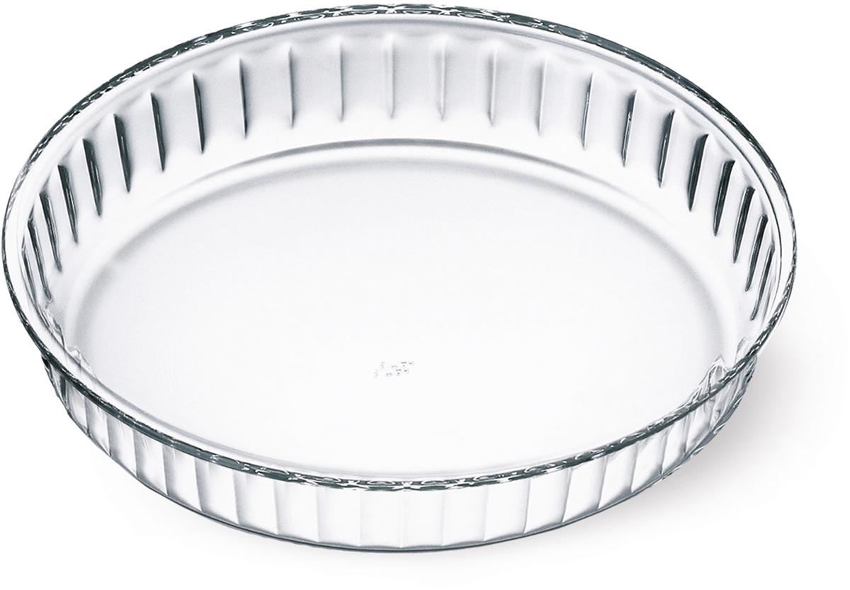"""Круглая форма для пирога Simax """"Classic"""" изготовлена из термостойкого боросиликатного стекла. Форма будет отличным выбором для всех любителей блюд, приготовленных в духовке и микроволновой печи. Стеклянное изделие не вступает в реакцию с готовящейся пищей, а потому не выделяет никаких вредных веществ, не подвергается воздействию кислот и солей.Можно мыть в посудомоечной машине.Изделие можно хранить в холодильнике и морозилке.Диаметр: 28 см."""