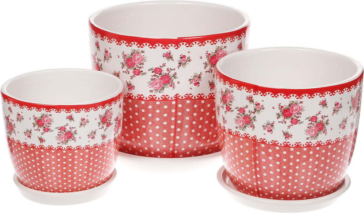 Набор горшков для цветов Miolla Луг, цвет: красный, 3 предмета набор горшков для цветов miolla кожа со скрытым поддоном 4 предмета