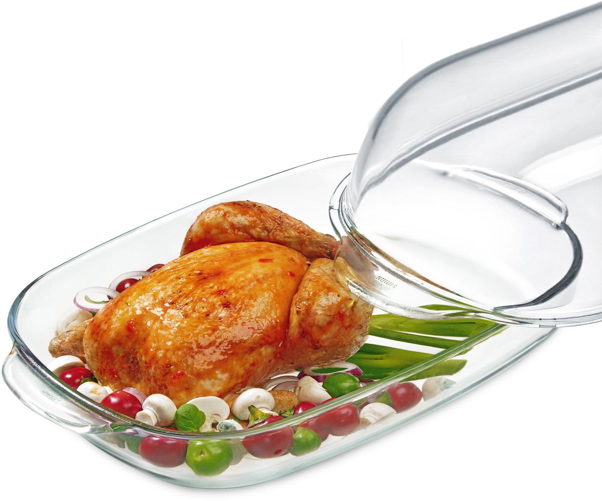 """Прямоугольная форма Simax """"Classic"""" с крышкой изготовлена из термостойкого боросиликатного стекла. Утятница будет отличным выбором  для всех любителей блюд, приготовленных в духовке и микроволновой печи. Стеклянное изделие не вступает в реакцию с готовящейся пищей, а  потому не выделяет никаких вредных веществ, не подвергается воздействию кислот и солей. Можно мыть в посудомоечной машине. Изделие можно хранить в холодильнике и морозилке. Объем: 8 л."""