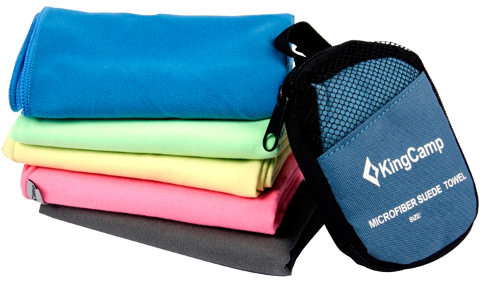 "Полотенце KingCamp ""Hiker Micro Fibre Towel"", гладкое, цвет: голубой, 30 х 60 см"