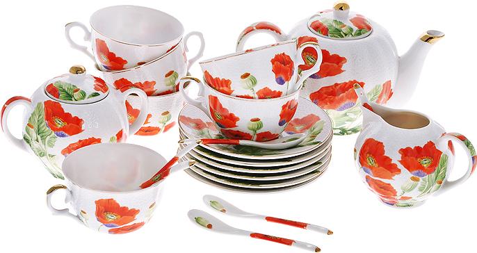 """Чайный набор """"Цветы мака"""" состоит из шести чашек, шести блюдец, заварочного чайника, сахарницы, молочника и шести ложек. Предметы набора изготовлены из высококачественного фарфора и оформлены изображением маков.Изящный дизайн придется по вкусу и ценителям классики, и тем, кто предпочитает утонченность и изысканность. Он настроит на позитивный лад и подарит хорошее настроение с самого утра. Набор упакован в красочную подарочную коробку. Внутренняя часть коробки задрапирована белым атласом. Каждый предмет надежно зафиксирован внутри коробки благодаря специальным выемкам.  Чайный набор - идеальный и необходимый подарок для вашего дома и для ваших друзей в праздники, юбилеи и торжества! Он также станет отличным корпоративным подарком и украшением любой кухни. Характеристики:Материал:  фарфор. Диаметр чашки по верхнему краю:  9,5 см. Высота чашки:  6 см. Объем чашки:  250 мл. Диаметр блюдца:  15 см. Диаметр чайника (без учета носика и ручки):  12 см. Высота чайника (без учета крышки):  11,5 см. Объем чайника:  680 мл. Размер молочника:  9 см х 12,5 см х 9 см. Размер сахарницы:  10 см х 14,5 см х 8,5 см. Длина ложки:  13 см. Размер упаковки:  33,5 см х 41 см х 12,5 см. Артикул:  545-378."""