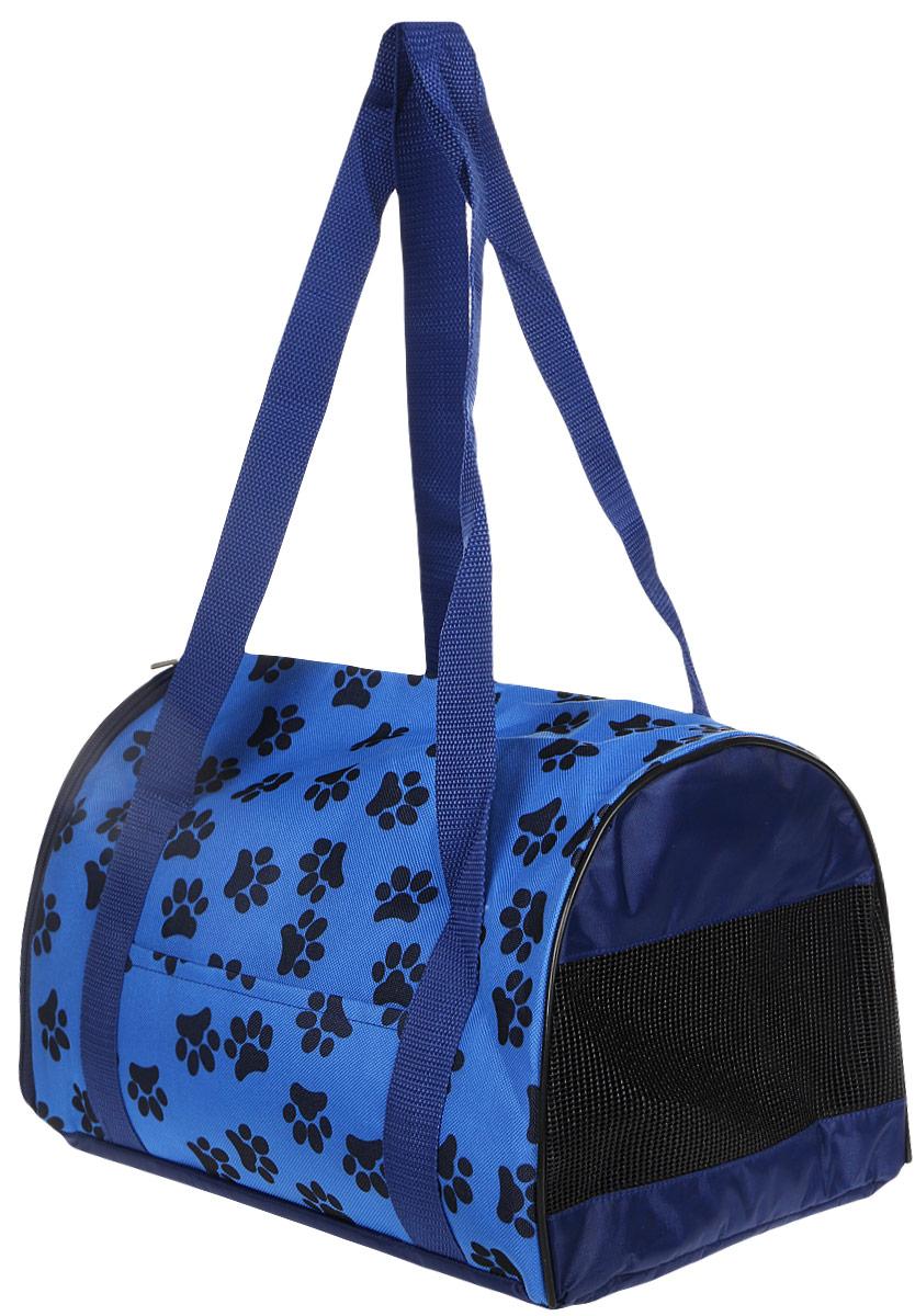 Сумка-переноска для животных Теремок , цвет: синий, 34 х 22 х 21 см