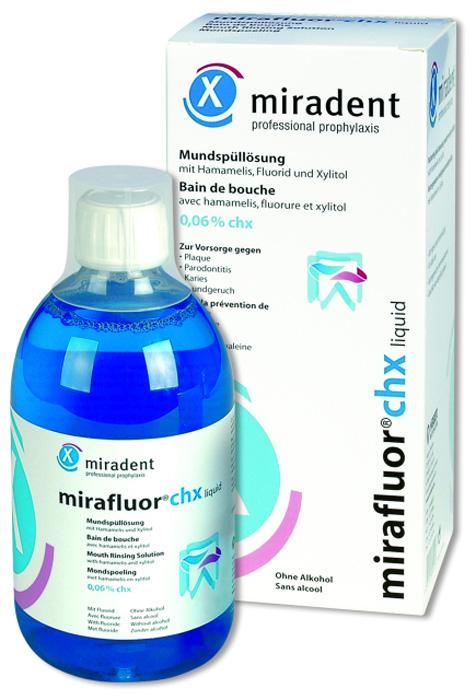 Miradent Mirafluor CHX Ополаскиватель для полости рта с хлоргексидина глюконатом 0,06 %, 500 мл бытовая химия xaax ополаскиватель для посудомоечной машины 500 мл