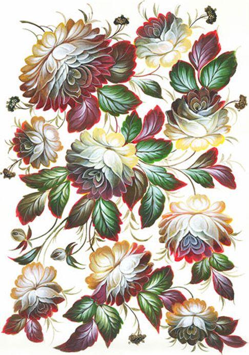 Рисовая бумага для декупажа Cadence - Craft Premier Цветы-Жостово, формат А4