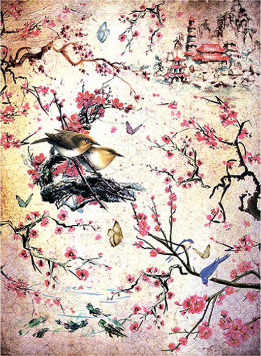 Рисовая бумага для декупажа Craft Premier Сакура, формат А4 рисовая бумага для декупажа фоновая craft premier a3 20г м паутинка