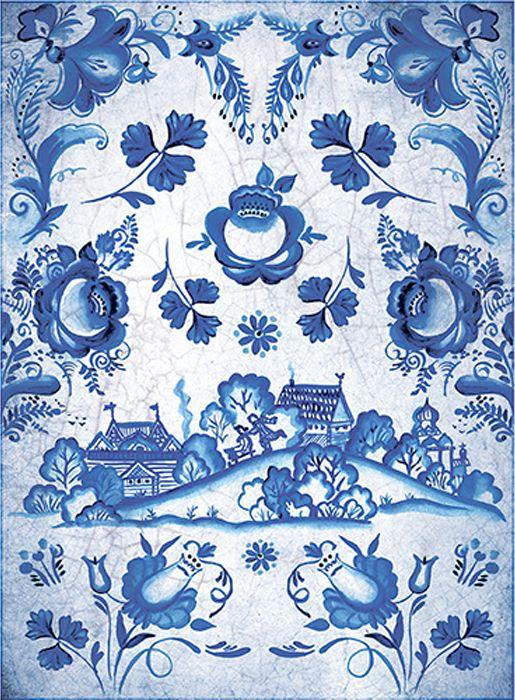 Рисовая бумага для декупажа Craft Premier Гжель: деревня, формат А4 рисовая бумага для декупажа craft premier пасхальный декор 28 х 38 см