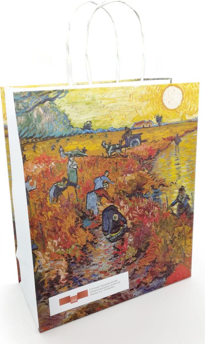 Удобный подарочный пакет! Пакет выпущен для Государственного музея изобразительных искусств имени А.С. Пушкина. Красные виноградники в Арле, Винсент Ван Гог. На пакете размещен логотип музея.