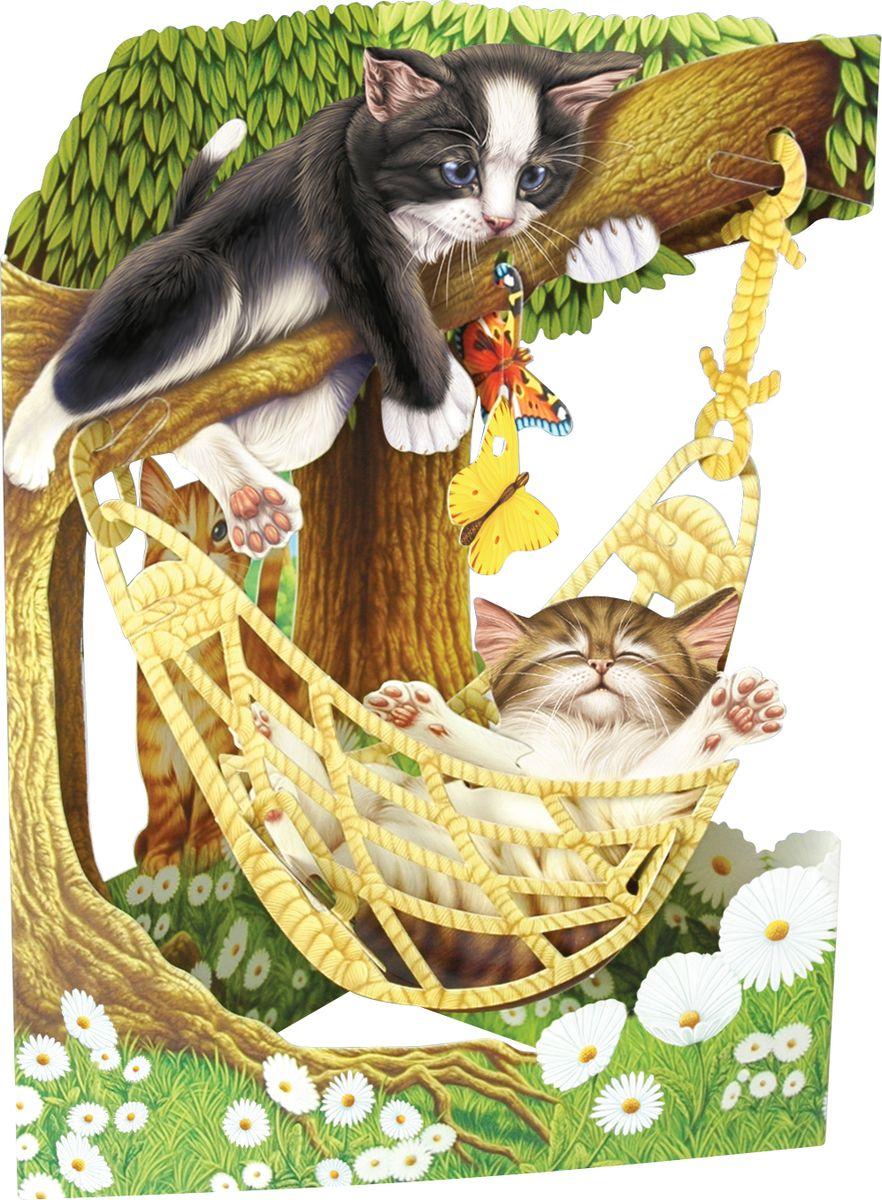 Объемная открытка Santoro Коты в гамаке объемная открытка santoro воздушные змеи