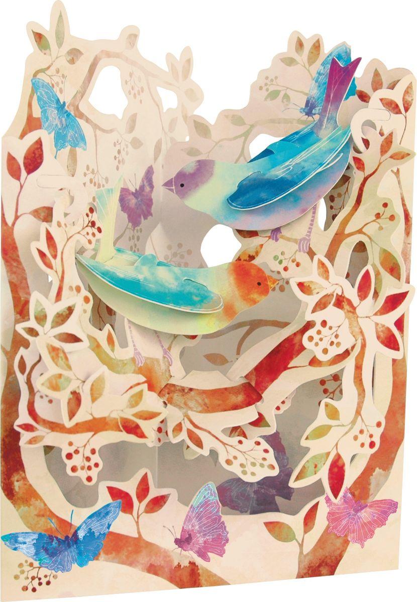 Объемная открытка Santoro Птицы и бабочки объемная открытка santoro воздушные змеи