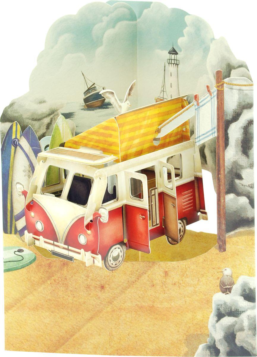 Объемная открытка Santoro Жилой автофургон холодильник shivaki bmr 2013dnfw двухкамерный белый
