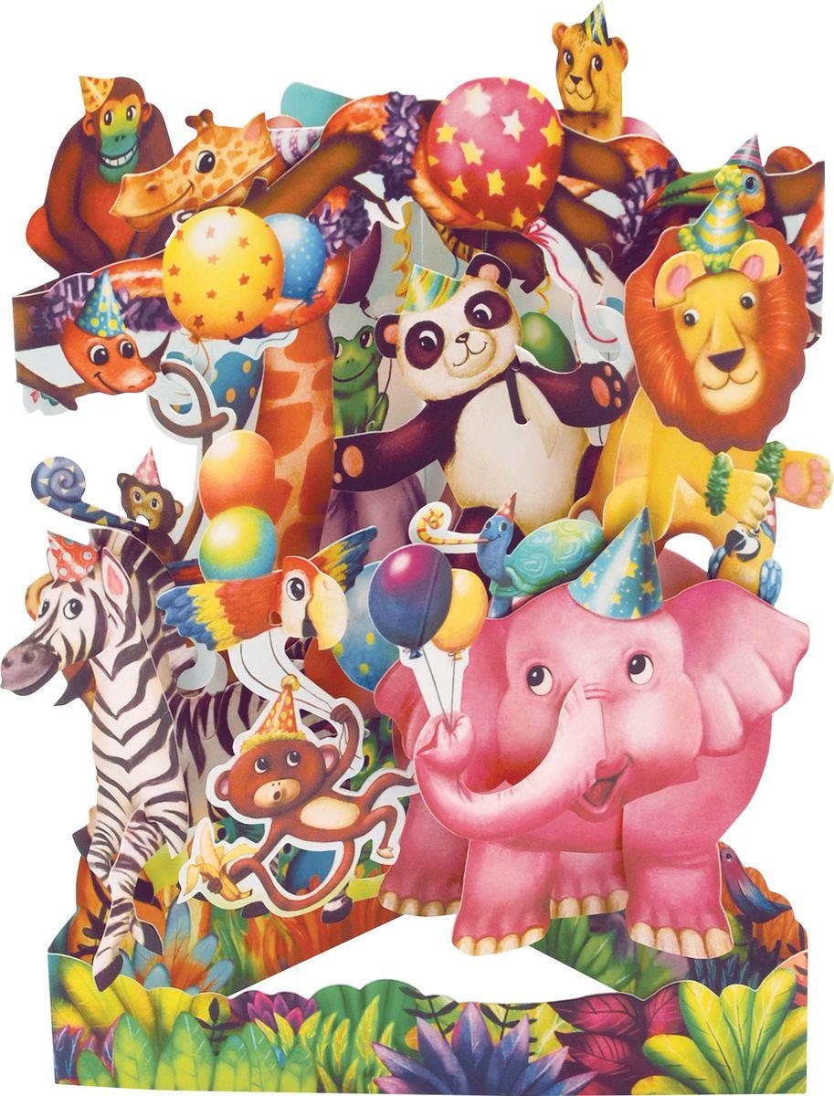 Объемная открытка Santoro Вечеринка животных объемная открытка santoro воздушные змеи