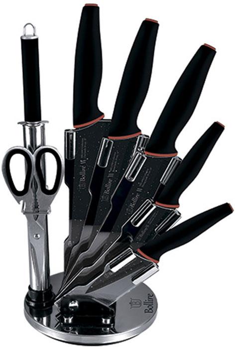 """Набор ножей """"Bollire"""" выполнен из нержавеющей стали с мраморным покрытием. В комплекте 5 ножей (нож для чистки овощей, нож универсальный, нож для нарезки, нож для хлеба, нож поварской), ножницы, точилка для ножей, акриловая подставка для ножей. Особая эргономичная форма ручек с покрытием soft-touch защищает от скольжения и удобно держится в руке."""