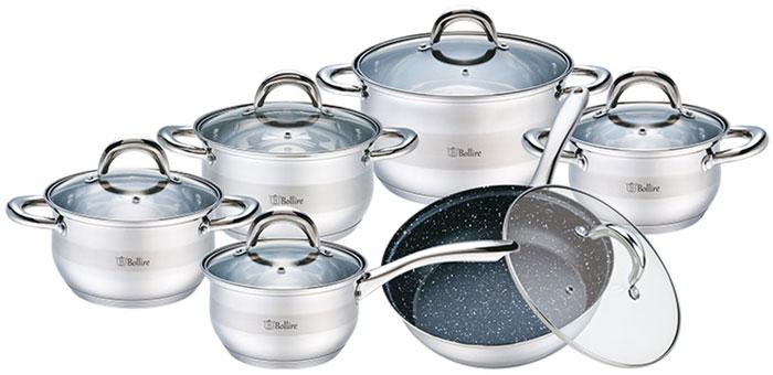 """Набор посуды Bollire """"Salerno"""" включает в себя 4 кастрюли, ковш и сковороду. Изделия выполнены из нержавеющей стали. Внутренняя поверхность кастрюль и ковша с зеркальной полировкой, имеет отметку литража.  Внешнее покрытие: сатинированная полировка 1/3 корпуса, зеркальная полировка 2/3 корпуса. Технология дна: 5-ти слойное капсульное дно (0,5 мм алюминия, 1,5 мм железа, 0,5 мм алюминия. Материал крышки: крышка из термостойкого стекла с отверстием для выпуска пара. Ободок крышки из нержавеющей стали против сколов и трещин.   Сковорода с мраморным покрытием.    Размеры ковша (1,6 л): 16 x 9,5 см.  Размеры кастрюли (1,7 л): 16 x 10 см.  Размеры кастрюли (2,4 л): 18 x 11 см.  Размеры кастрюли (3,3 л): 20 x 12 см.  Размеры кастрюли (5,8 л): 20 x 14 см.  Размеры сковороды (2,4 л): 24 x 65 см   Подходит для всех видов плит, включая индукционные. Не подходит для духовки."""