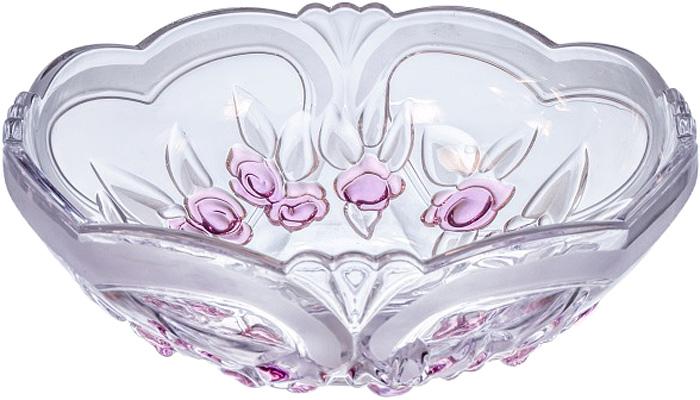 Стеклянный салатник с элементами матового и нежно-розового декора украсит праздничный стол и подчеркнет красоту сервируемых блюд.