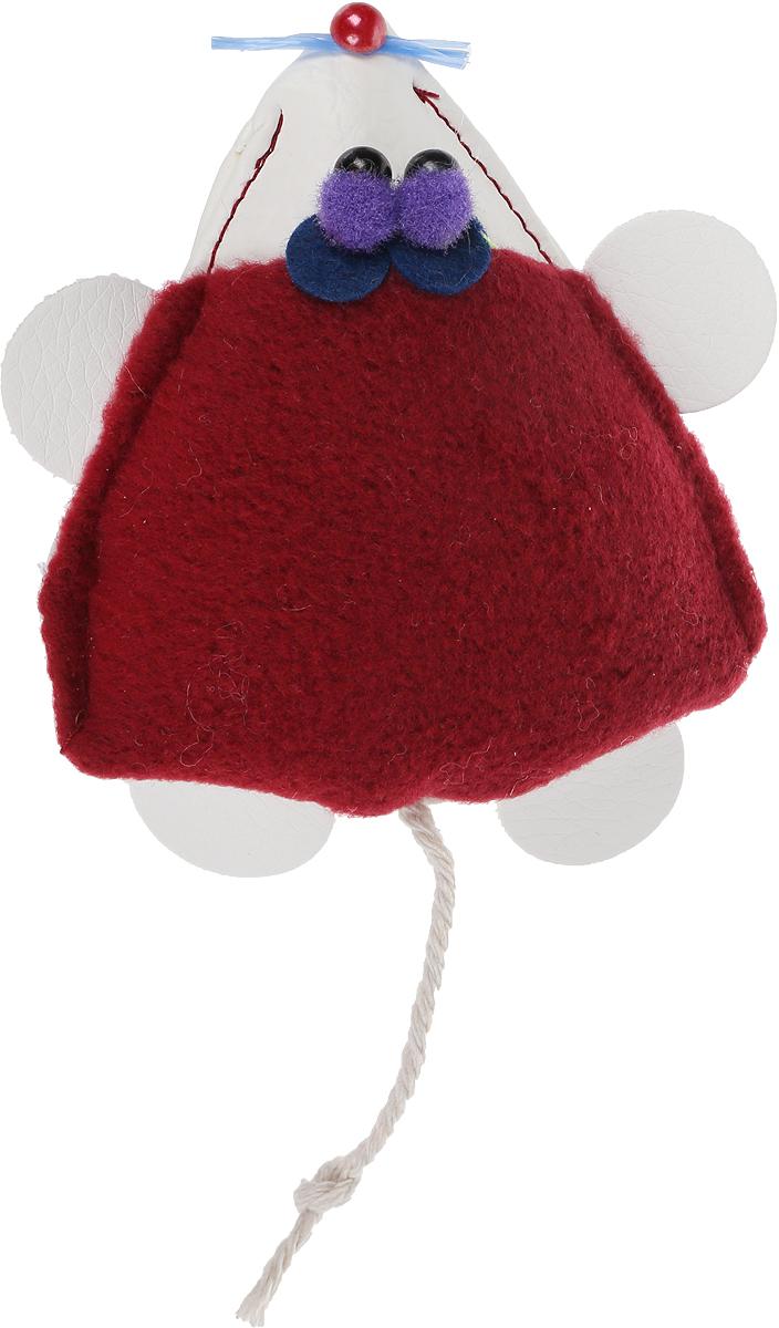 Игрушка для кошек GLG Мышка-норушка, цвет:бордовый, 7 х 14 х 2,5 см