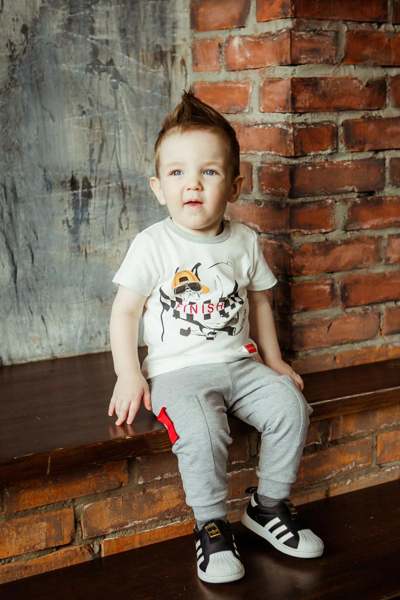 Брюки для мальчика Lucky Child, цвет: серый. 44-14пф. Размер 122/128