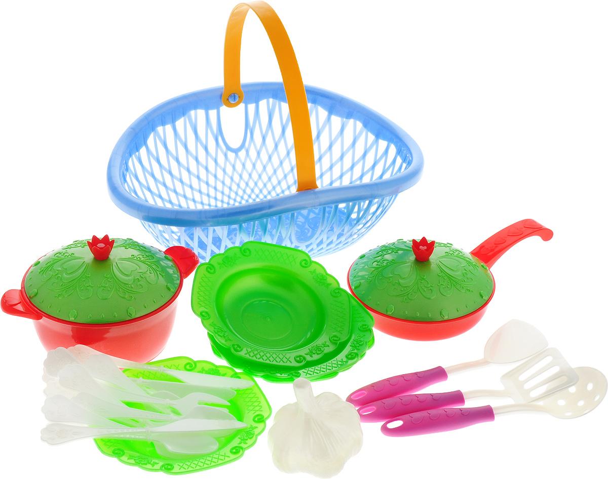 Нордпласт Игрушечный набор посуды Кухонный сервиз Волшебная хозяюшка цвет голубой зеленый