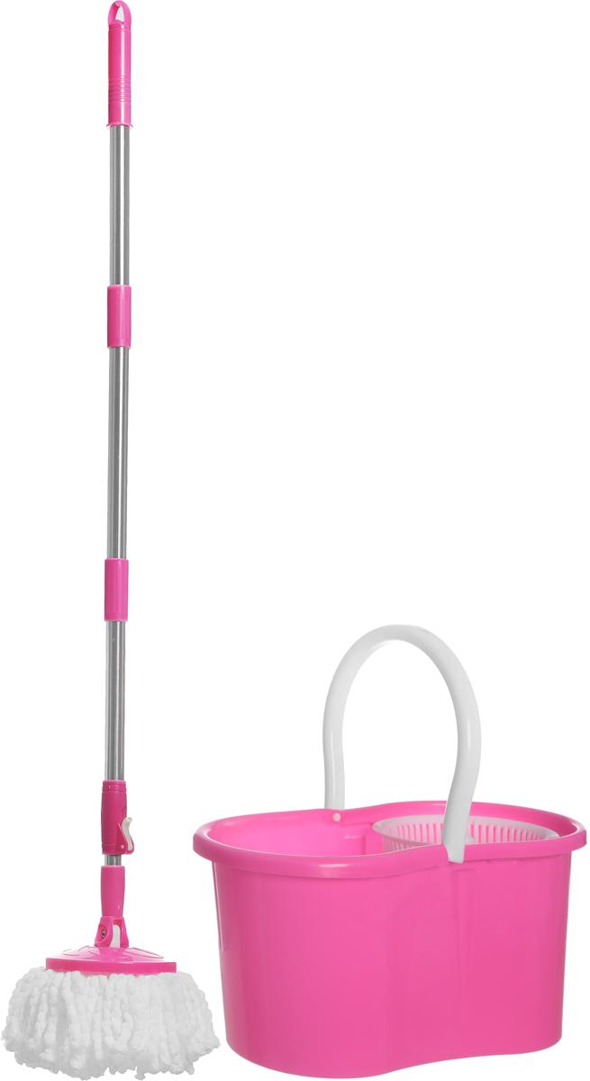 Швабра  HomeQueen , с отжимом, цвет: розовый -  Инвентарь для уборки