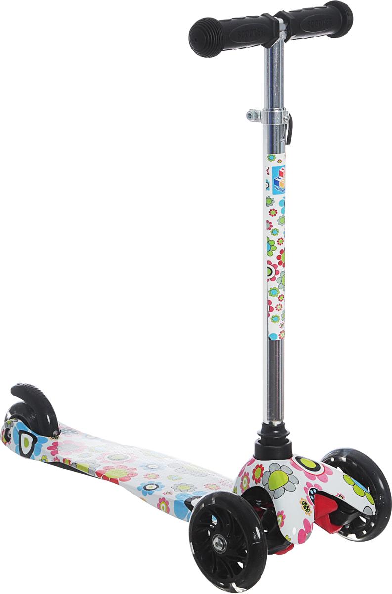 Самокат детский 1 Toy Цветы, трехколесный, со светящимися колесами, с регулируемой ручкой, цвет: белый самокат детский трехколесный 1 toy фиксики со светящимися колесами цвет голубой т58463