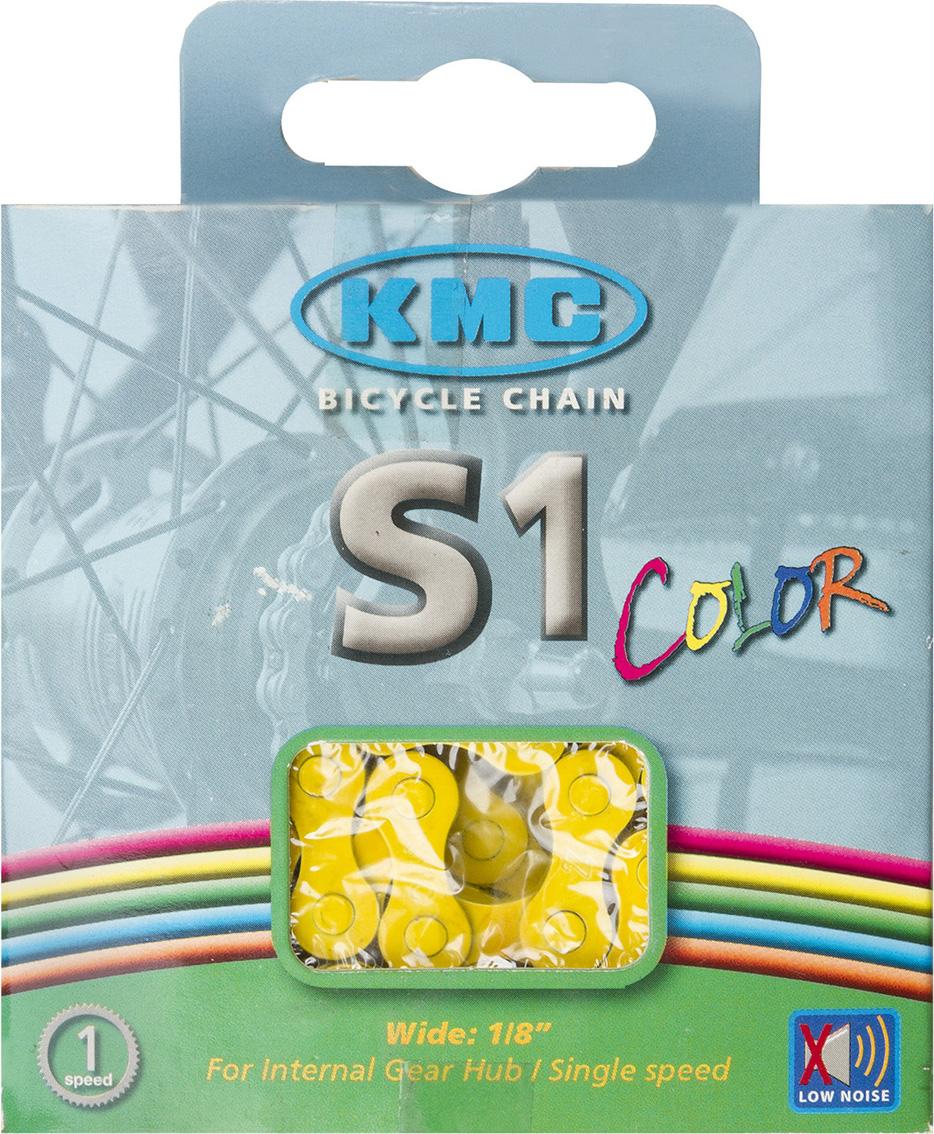 Цепь велосипедная КМС, для дорожных велосипедов, 1/2x1/8, 112 звеньев, с замком, цвет: желтый велосипедная цепь kmc 6 051 z51 18 21 скорости 116 звеньев