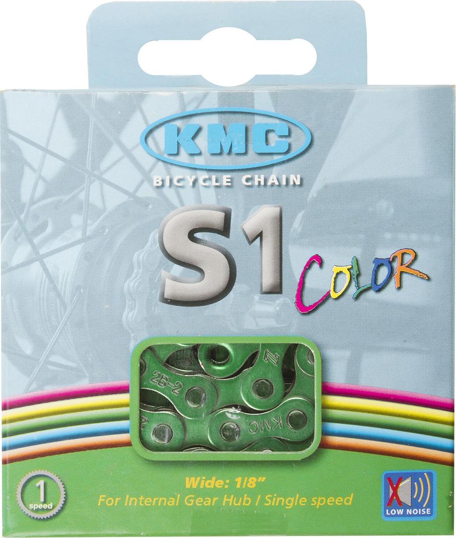 Цепь велосипедная КМС, для дорожных велосипедов, 1/2x1/8, 112 звеньев, с замком, цвет: зеленый велосипедная цепь kmc 6 051 z51 18 21 скорости 116 звеньев