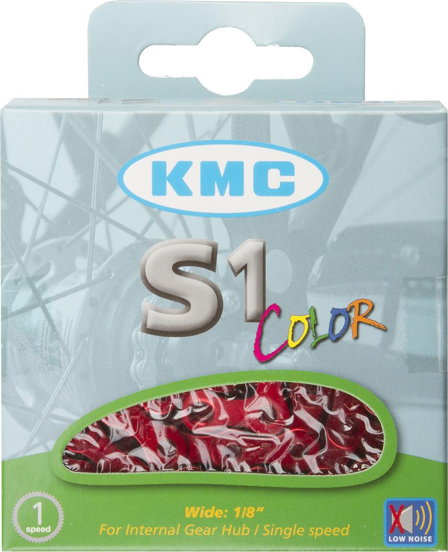 Цепь велосипедная КМС, для дорожных велосипедов, 1/2x1/8, 112 звеньев, с замком, цвет: красный велосипедная цепь kmc 6 051 z51 18 21 скорости 116 звеньев