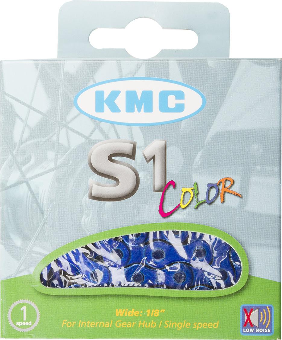 Цепь велосипедная КМС, для дорожных велосипедов, 1/2x1/8, 112 звеньев, с замком, цвет: синий велосипедная цепь kmc 6 051 z51 18 21 скорости 116 звеньев