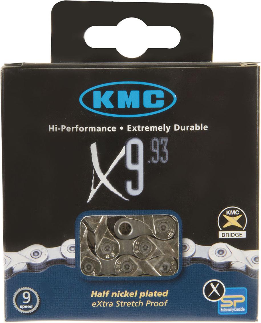 Цепь велосипедная КМС, Х-9-93, 6.6 мм, 1/2x11/128, 116 звеньев, для XTR/ Saint/ XT/ Hone/ LX/ Deore/ TIAGRA/ Carpreo/ Sora велосипедная цепь кмс x8 8 скоростей 1 2x3 32х116 точное переключение высокопрчные пины x8
