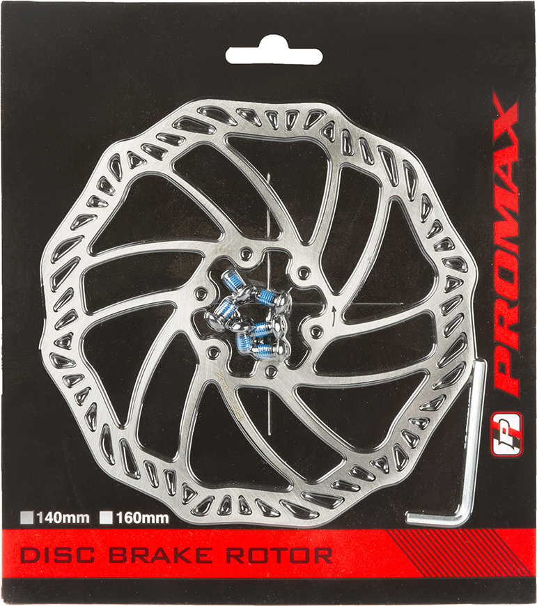 Тормозной диск Promax, 160 мм, включающий болты и ключ