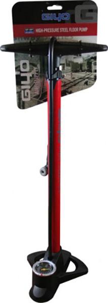 Велосипедный насос Giyo, напольный, с манометром, высокого давления, max 160psi(11атм), цвет: красный