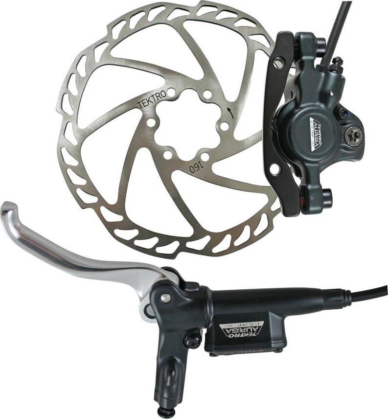 Тормоз дисковый Tektro HD-M290F, задний, диск 160мм, машинка, гидролиния, ручка тормоза. HD-M290R