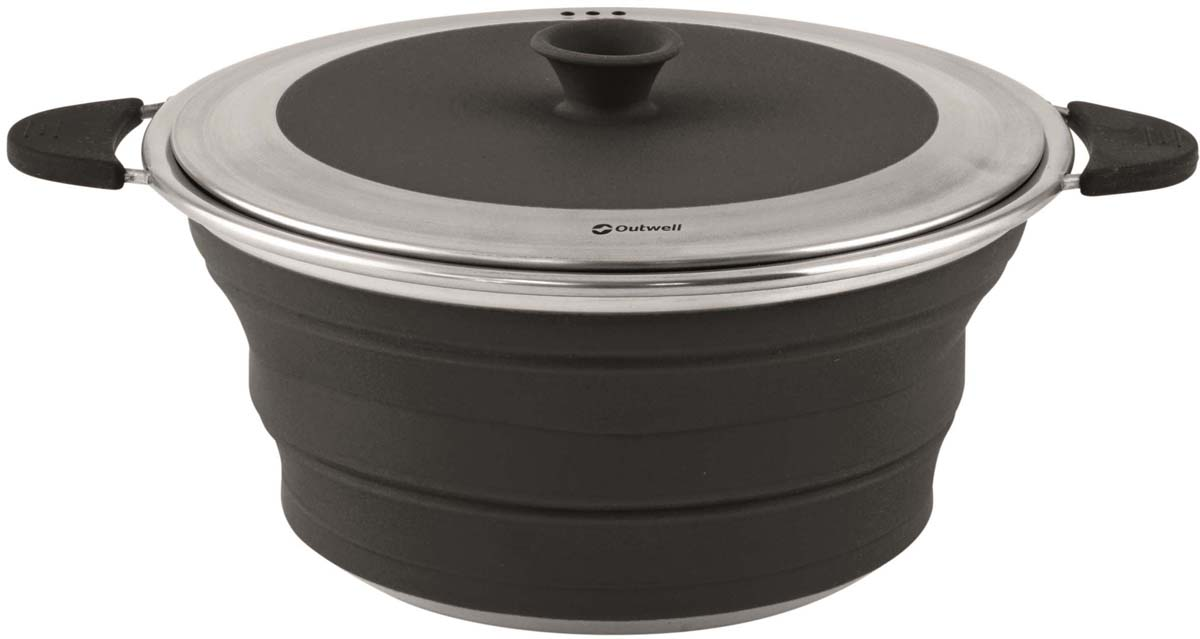 Кастрюля складная Outwell Collaps Pot with Lid M Midnight, цвет: черный, 2,5 л кружка outwell collaps mug green 650340