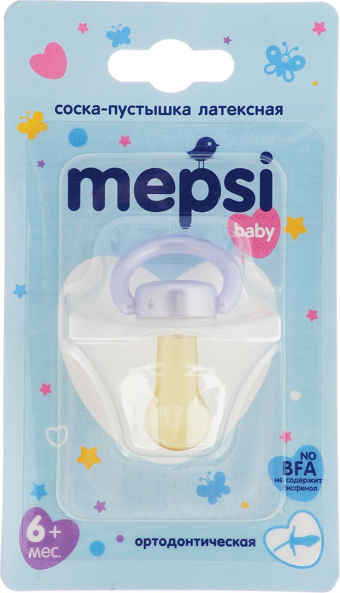 Mepsi Соска-пустышка латексная ортодонтическая от 6 месяцев цвет белый сиреневый 0305