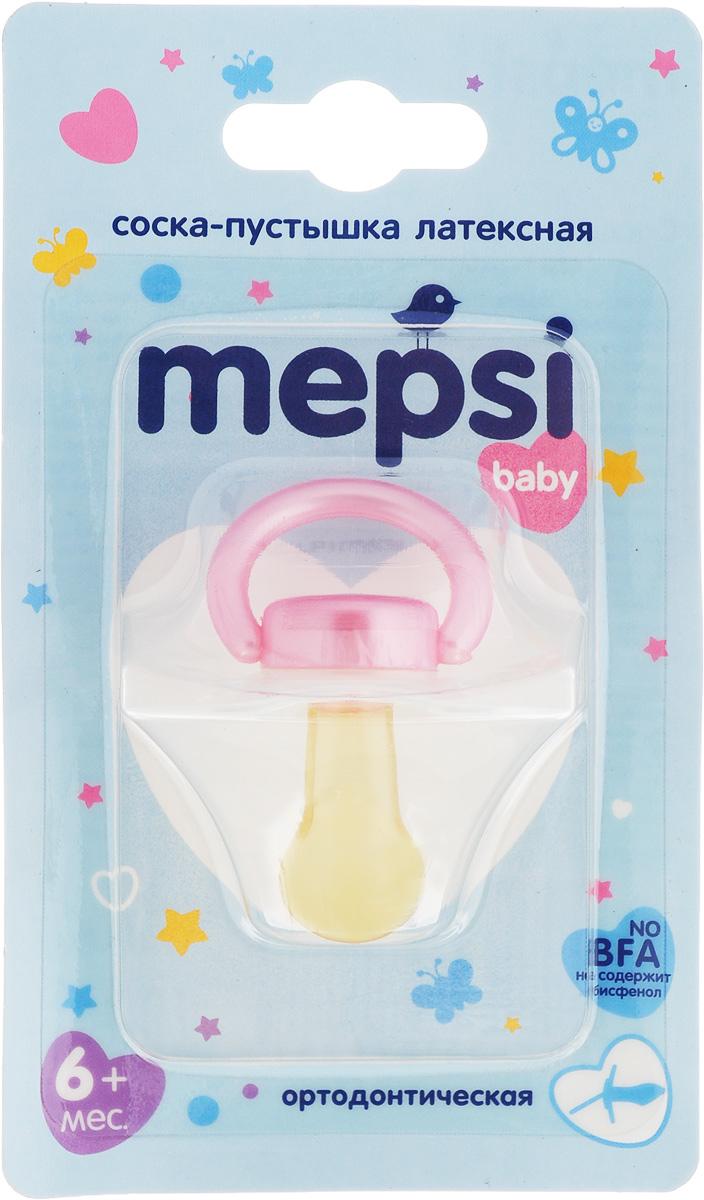 Mepsi Соска-пустышка латексная ортодонтическая от 6 месяцев цвет белый розовый 0305 розовый цвет 3 6 months
