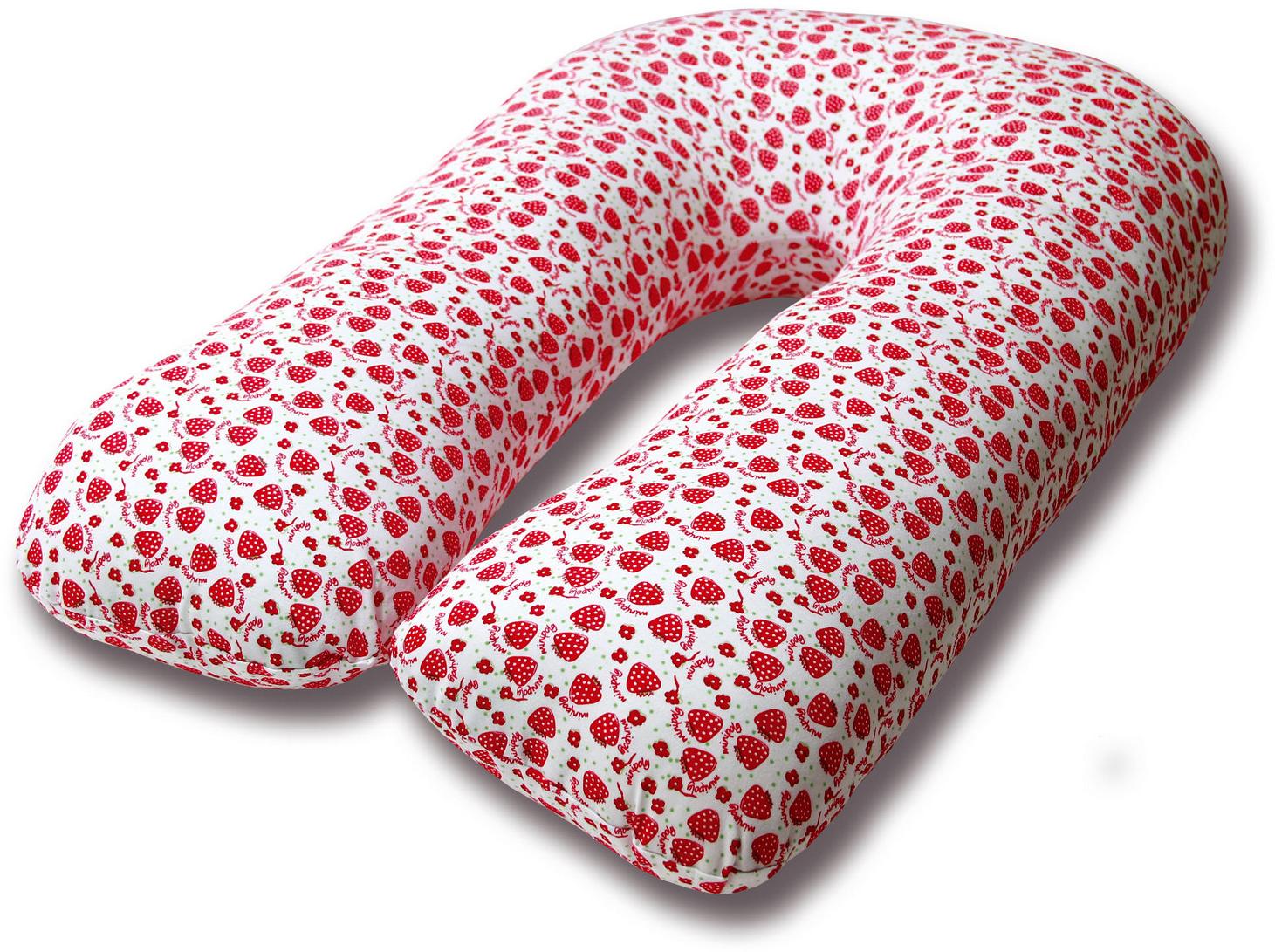 Штучки, к которым тянутся ручки Подушка для кормящих и беременных Клубника U-образная цвет красный