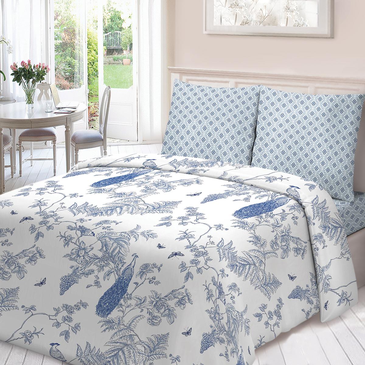 Комплект белья Для Снов Жуи, 1,5-спальный, наволочки 70х70, цвет: голубой комплекты белья