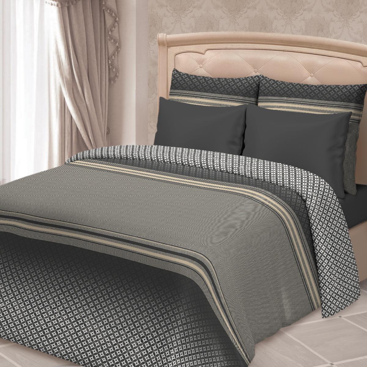 Комплект белья Сорренто Боско, евро, наволочки 70х70, цвет: черный комплекты белья