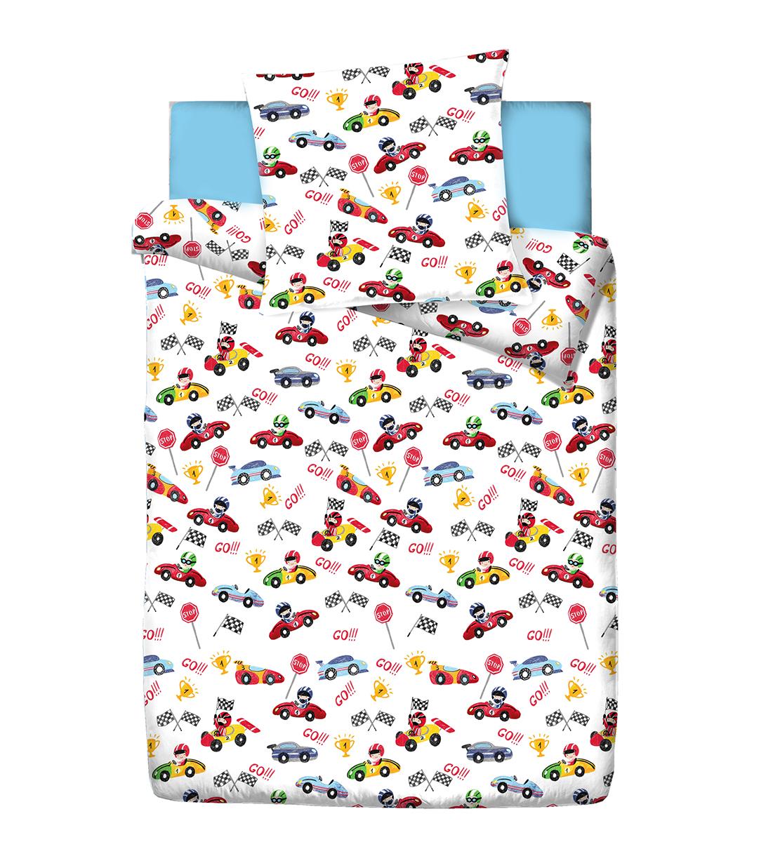Комплект белья детский Браво Кидс Форсаж, 1,5-спальный, наволочки 70x70, цвет: белый