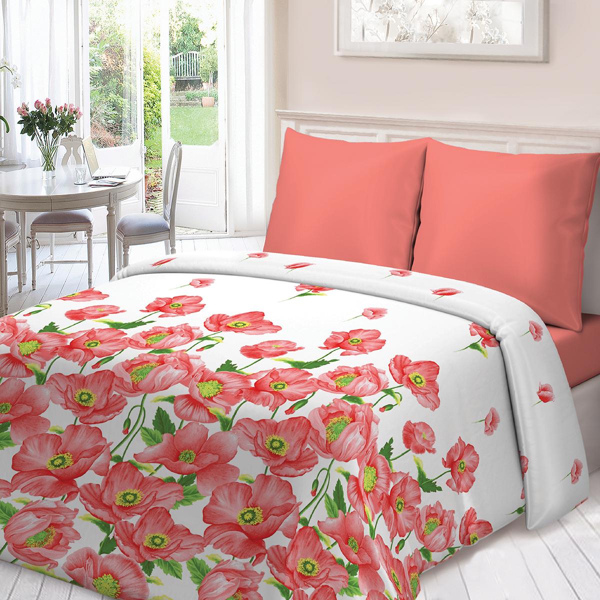 Комплект белья Для Снов Маки, 1,5-спальный, наволочки 70х70, цвет: коралловый комплекты белья