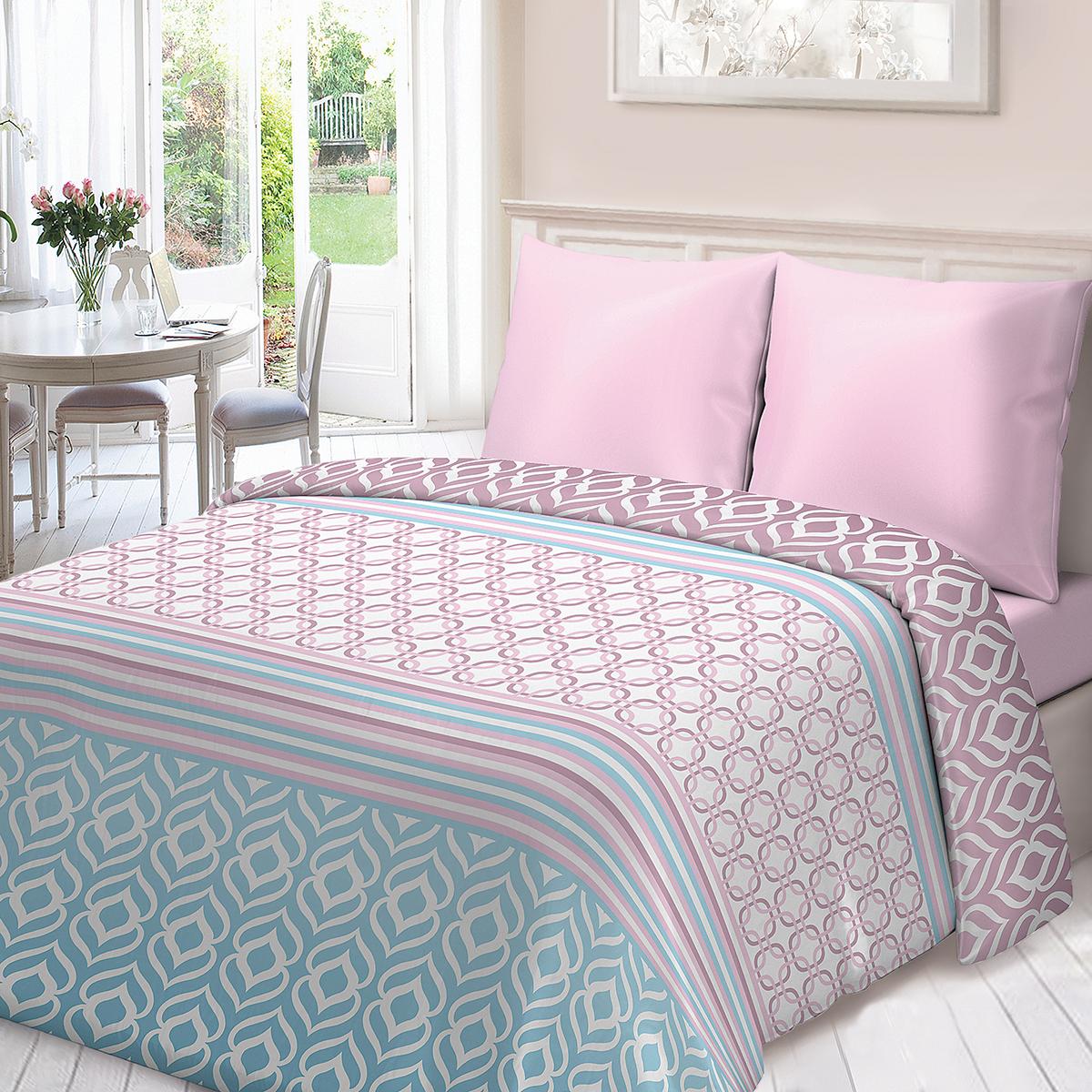 Комплект белья Для Снов Омбре, 1,5-спальный, наволочки 70х70, цвет: розовый комплекты белья