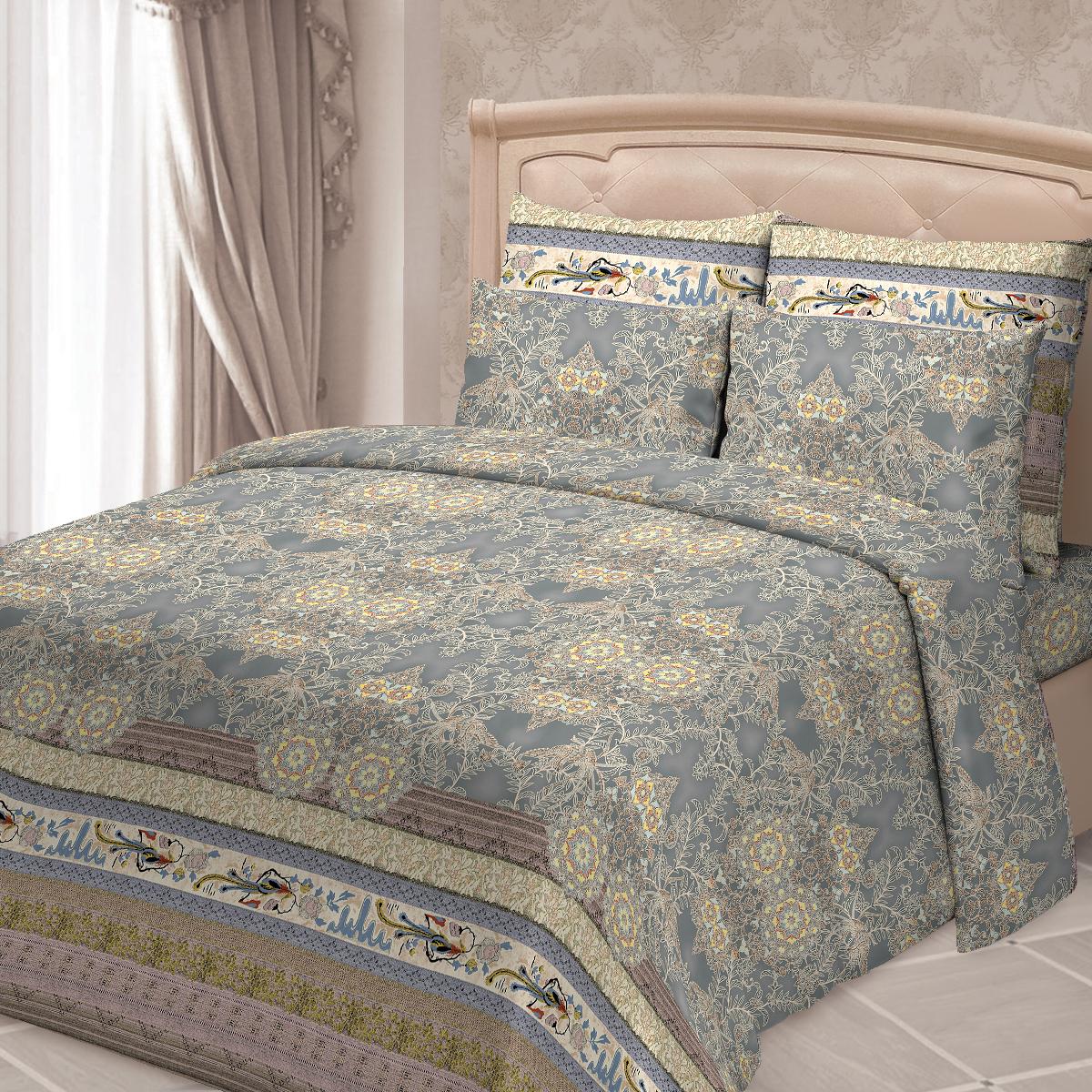 """Комплект белья Сорренто """"Бергамо"""", 2-спальный, наволочки 70х70, цвет: голубой"""