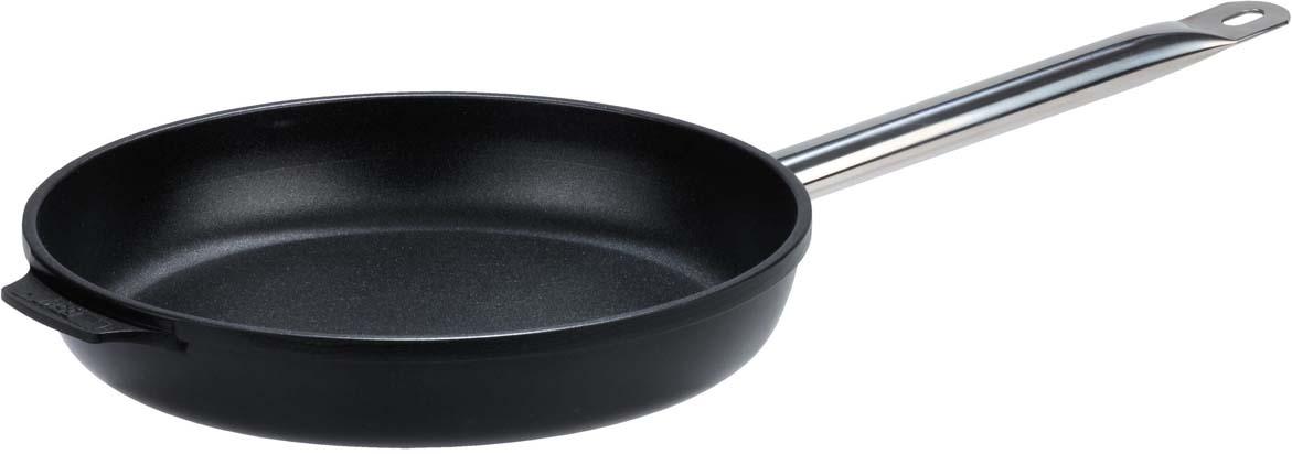 """Сковорода """"Gsw"""", изготовлена из литого алюминия с внутренним антипригарным покрытием, благодаря которому пища не пригорает и не прилипает к стенкам. Готовить можно с минимальным количеством масла и жиров. Гладкая поверхность обеспечивает легкость ухода за посудой. Изделие оснащено удобной металлической ручкой. Готовить с такой сковородой легко. А благодаря элегантному дизайну не оставит ваших близких равнодушных. Диаметр сковороды 24 см."""