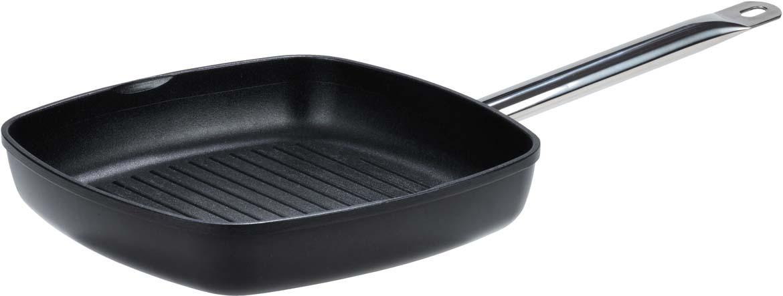 """Сковорода для гриля """"Gsw"""" изготовлена из высококачественного литого алюминия. Антипригарное покрытие и рифленая поверхность обеспечивают быстрый и равномерный нагрев. Рифленая поверхность сковороды имитирует решетку-гриль и образует аппетитную корочку, при этом жир стекает в желобки, не давая продуктам контактировать с ним, что обеспечивает приготовление здоровой пищи. Удобная металлическая ручка не скользит и надежно лежит в руке."""