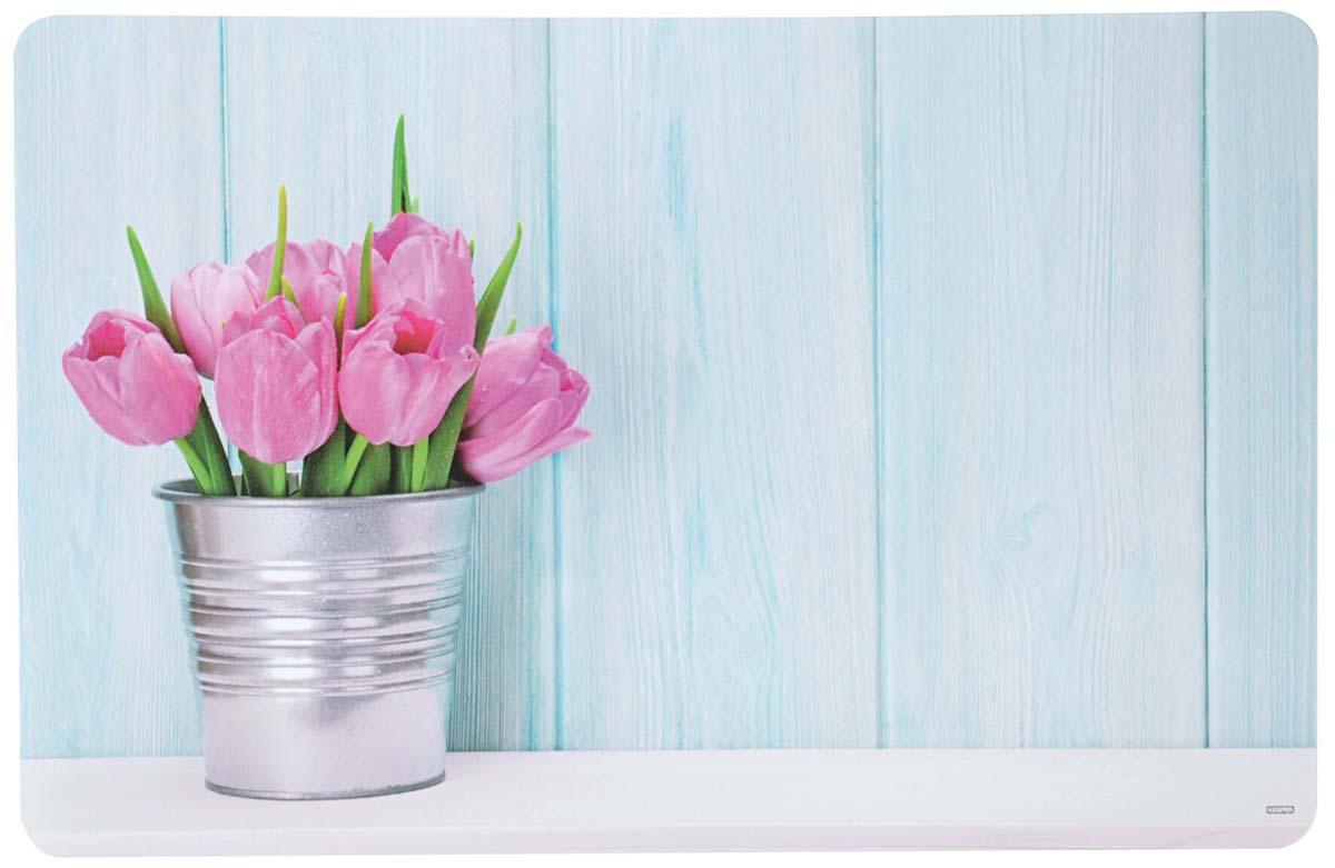 """Подставка под горячее Kesper """"Тюльпаны"""" , выполненная из высококачественного пластика, предназначена для сервировки стола. Она служит защитой от царапин и различных следов, а также используется в качестве подставки под горячее. Оригинальный рисунок дополнит стильную сервировку стола."""