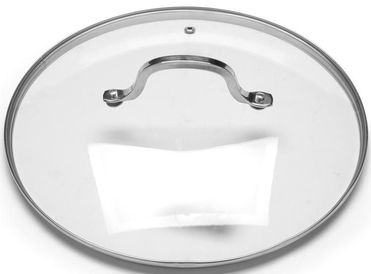 """Крышка """"VGP"""" с ручкой изготовлена из прочного закаленного стекла, устойчивого к влиянию высокой температуры. Стальной ободок по периметру крышки защищает ее от ударов и деформации, сохраняя целостность изделия. Ручка крышки имеет удобную форму, она выполнена из качественной нержавеющей стали, которая не нагревается в процессе приготовления пищи и не обжигает руки. Изделие имеет небольшое круглое отверстие для вывода пара. Крышка предназначается для сотейников, кастрюль и сковород, диаметр которых равен диаметру крышки. Перед первым использованием вымойте крышку теплой водой с моющими средствами. Не ставьте посуду, накрытую крышкой с пластмассовой ручкой, в духовку или микроволновую печь. Подходит для мытья в посудомоечной машине."""