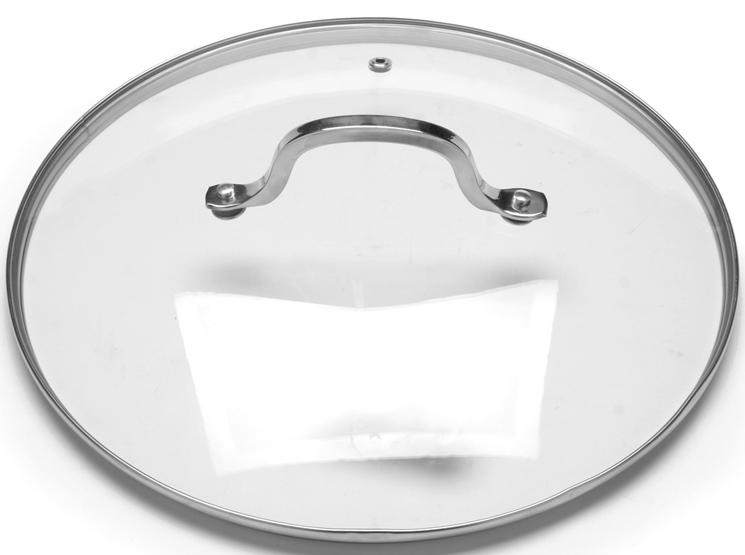 Крышка с ручкой изготовлена из прочного закаленного стекла, устойчивого к влиянию высокой температуры. Стальной ободок по периметру крышки защищает ее от ударов и деформации, сохраняя целостность изделия. Ручка крышки имеет удобную форму, она выполнена из качественной нержавеющей стали, которая не нагревается в процессе приготовления пищи и не обжигает руки. Изделие имеет небольшое круглое отверстие для вывода пара. Крышка предназначается для сотейников, кастрюль и сковород, диаметр которых равен диаметру крышки. Перед первым использованием вымойте крышку теплой водой с моющими средствами. Не ставьте посуду, накрытую крышкой с пластмассовой ручкой, в духовку или микроволновую печь. Подходит для мытья в посудомоечной машине.