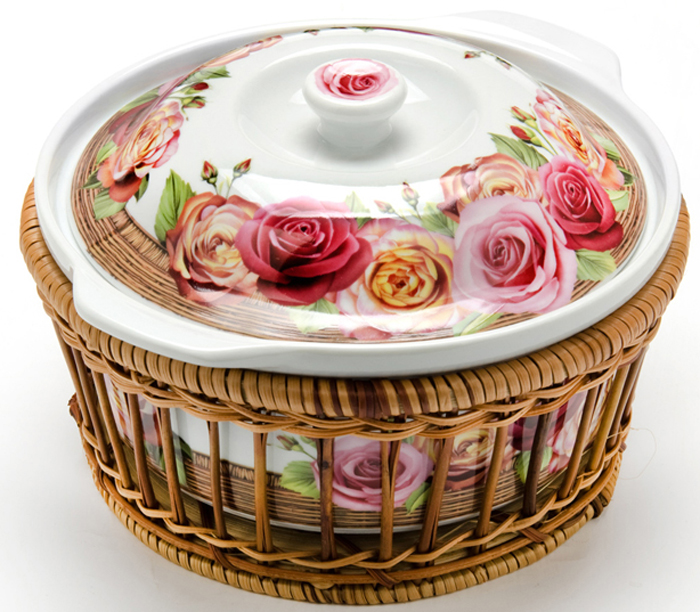 """Кастрюля керамическая """"Mayer & Boch"""" выполнена из качественного фарфора белого цвета. Кастрюля имеет классическую круглую форму и небольшие удобные ручки. Поверхность украшена изображением цветов. В комплект также входит плетеная корзинка из ротанга, выполняющая роль оригинальной подставки для кастрюли. Фарфоровая кастрюля прекрасно подойдет для запекания овощей, мяса и других блюд, а благодаря своему оригинальному дизайну, она, несомненно, украсит ваш стол. Посуда не впитывает посторонние запахи, не имеет труднодоступных выступов или изгибов, которые накапливают грязь, и легко чистится. Фарфор выдерживает высокие перепады температуры, поэтому такую кастрюлю можно использовать в духовке, микроволновой печи, а также для хранения пищи в холодильнике. Подходит для мытья в посудомоечной машине."""