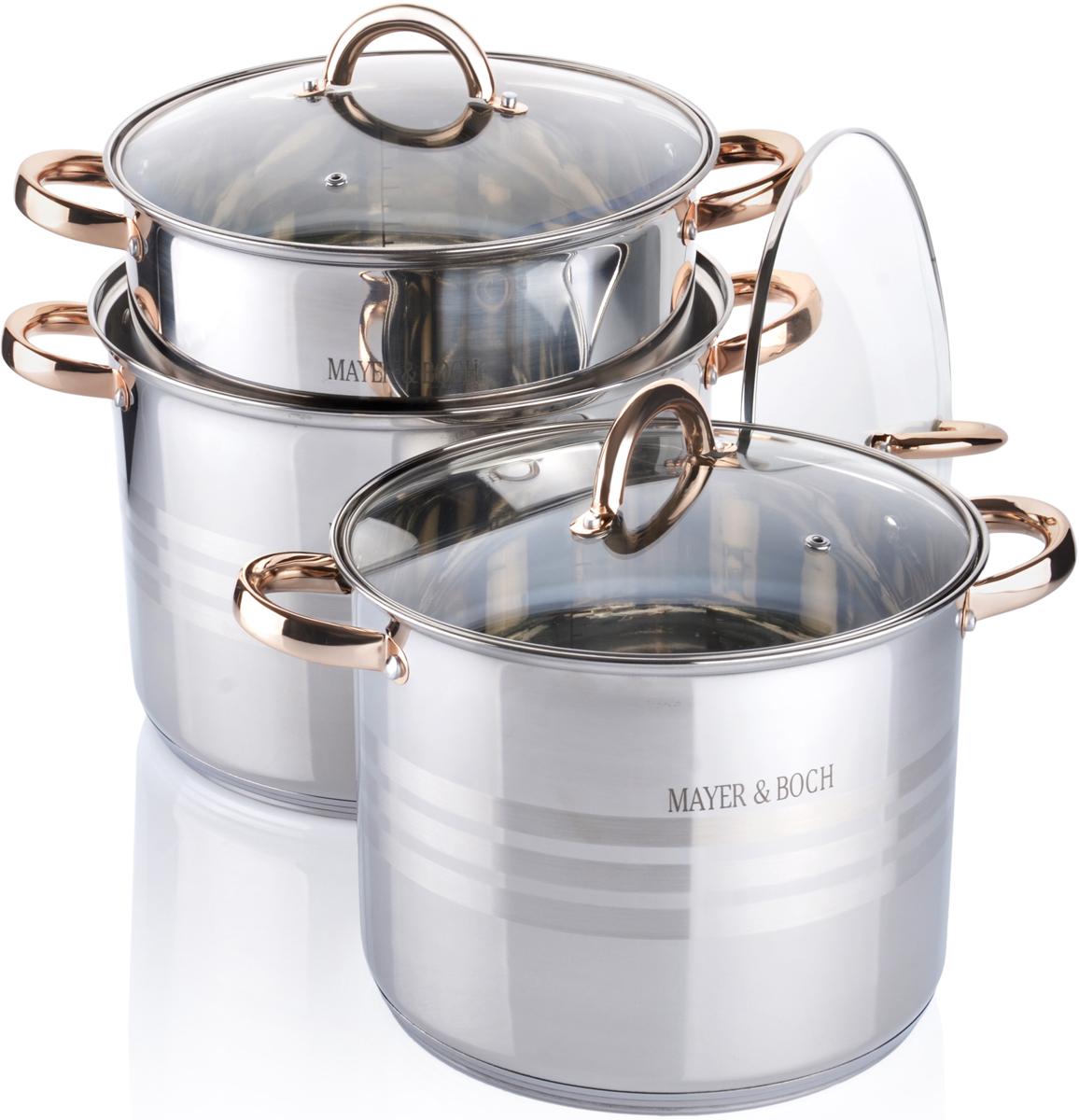 Набор посуды MAYER&BOCH выполнен из высококачественной нержавеющей пищевой стали с зеркальной внешней поверхностью. Внутренняя поверхность идеально ровная, что значительно облегчает мытье. Крышки, выполненные из термостойкого стекла, имеют отверстие паровыпуска и металлический обод. Крышки плотно прилегают к краям посуды, предотвращая проливание жидкости и сохраняя аромат блюд. Также изделия снабжены эргономичными стальными ручками. В комплекте 6 предметов: 3 кастрюли и 3 крышки. Подходит для использования на всех типах плит, включая индукционные. Подходит для мытья в посудомоечной машине.