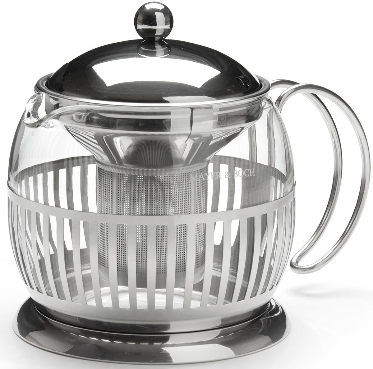Заварочный чайник MAYER&BOCH с металлическим фильтром/ситечком изготовлен из нержавеющей стали и термостойкого боросиликатного стекла. Корпус, крышка и фильтр из нержавеющей стали, внутренняя колба из стекла. Изделия из стекла не впитывают запахи, благодаря чему вы всегда получите натуральный, насыщенный вкус и аромат напитков. Заварочный чайник из стекла удобно использовать для повседневного заваривания чая любого сорта. Сетчатый металлический фильтр гарантирует прозрачность и чистоту напитка от чайных листьев, при этом сохранив букет и насыщенность чая. Прозрачные стенки чайника дают возможность насладиться насыщенным цветом заваренного чая. Эстетичный и функциональный, с современным дизайном, заварочный чайник MAYER&BOCH будет прекрасно смотреться в любом интерьере и послужит хорошим подарком для друзей и близких! Подходит для мытья в посудомоечной машине.